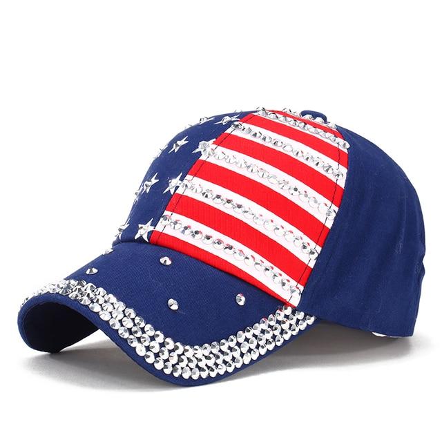 a67673f527193 Bandera Americana al por mayor moda sombrero gorras hombres y mujeres gorra  de béisbol sombrero rhinestone