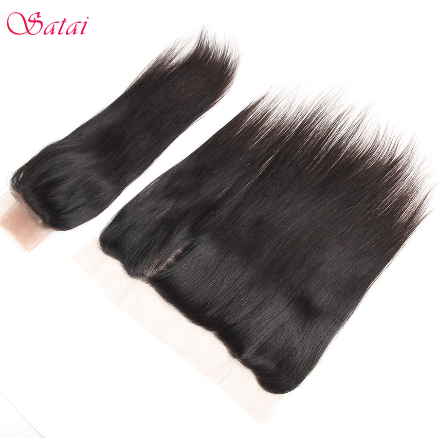 Satai Straight Hair Ear To Ear Lace Frontal 13x4 Closure Free Part 130% Destiny 10-18 inch Natural Color Remy Human Hair