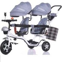 Детская близнецов трицикл маленьких двойная детская коляска велосипед Два одежда для малышей коляски 6 месяцев до для детей 4, 5, 6, 7 лет приме
