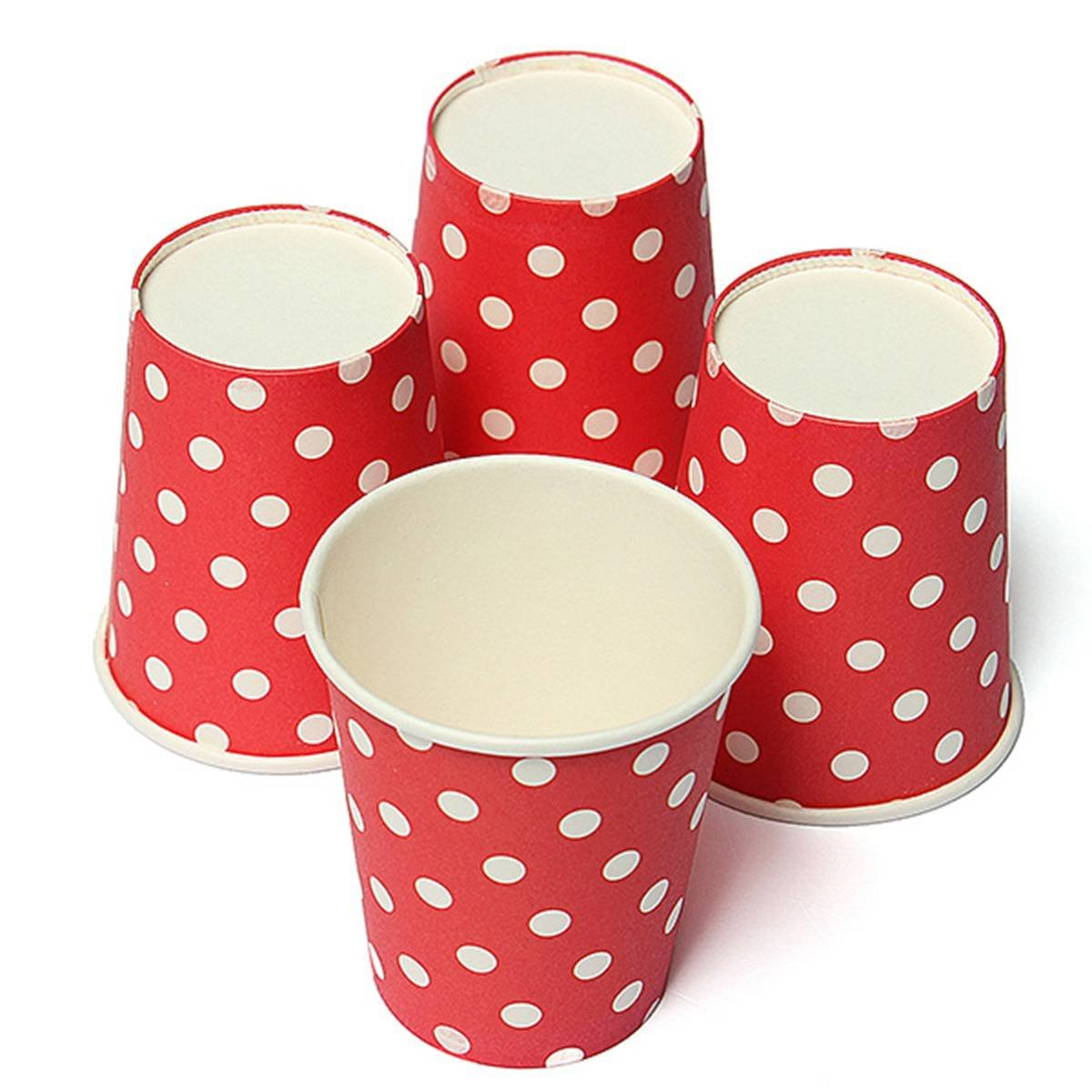 FLST 50pcs Polka Dot Paper Paper Cups Case Disposable Tableware Wedding Birthday Decorations Red