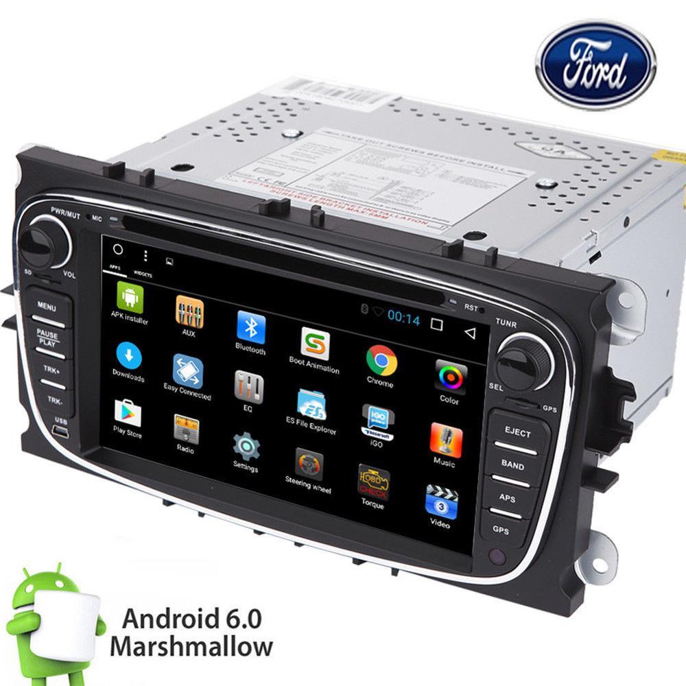 Android 6.0 lecteur DVD de voiture dans le tableau de bord voiture style double din GPS Nav radio DVR autocollants stéréo + CANBUS pour Ford Focus Mondeo s-max