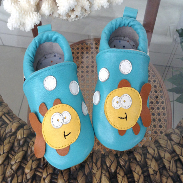 Toddler Shoes Genuine Leather Autumn New Arrival Soft Soled Low Top Mixed Color Slip on Lovely Printing Infant Prewalker