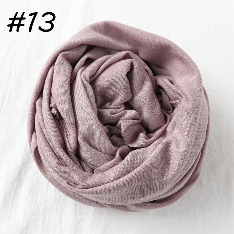 Один кусок Хиджаб Женский вискозный Джерси-шарф Мусульманский Исламский сплошной простой Джерси хиджабы Макси шарфы мягкие шали 70x160 см - Цвет: 13 lilac pink
