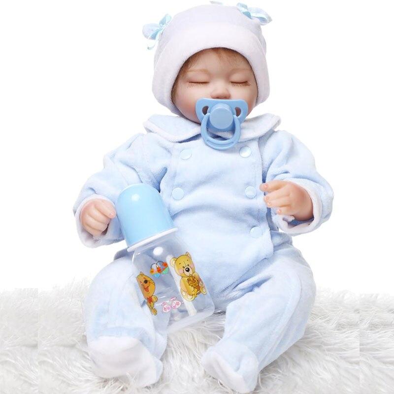 все цены на Kawaii Baby 17inch Silicone Reborn Dolls 42cm BeBe Reborn Doll Lifelike Newborn Babies Toys Brinquedos For Baby Birthday Gift