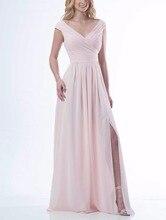 Simple 2017 Women Pink Bridesmaid Dresses Long Split Guest Wedding Party Prom Dress robe demoiselle d'honneur Vestido Madrinha