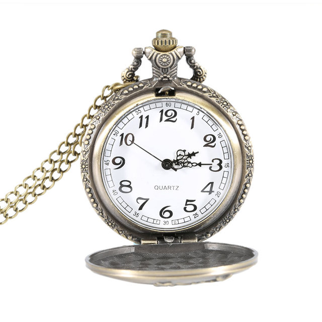 Vintage Deer Bronze Case Quartz Pocket Watch Pendant Necklace Women Men Chain Cl