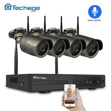 Techage 4CH 1080 P Беспроводной NVR CCTV Системы 2MP аудио звук, Wi-Fi Камера Крытый Открытый P2P безопасности комплект видеонаблюдения 2 ТБ