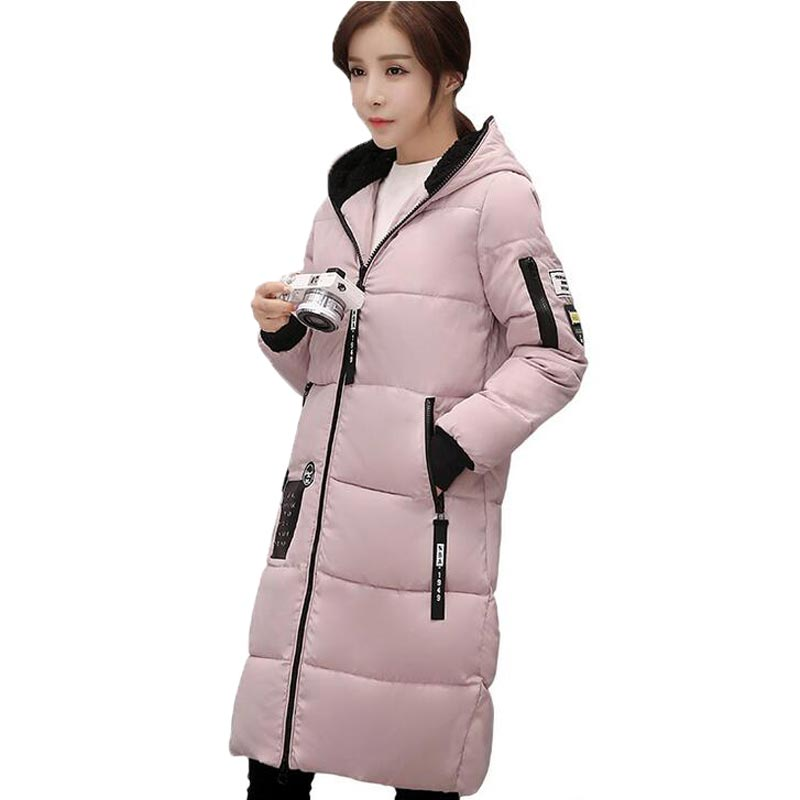 New Winter Cotton Coats Women Casual Hooded Long Parkas Thick Female Warm Wadded Jacket Patch Designs PW0785 2017 new winter warm hooded long women s coats thick cotton jacket women embroidery letter vintage overcoat parkas abrigos mujer