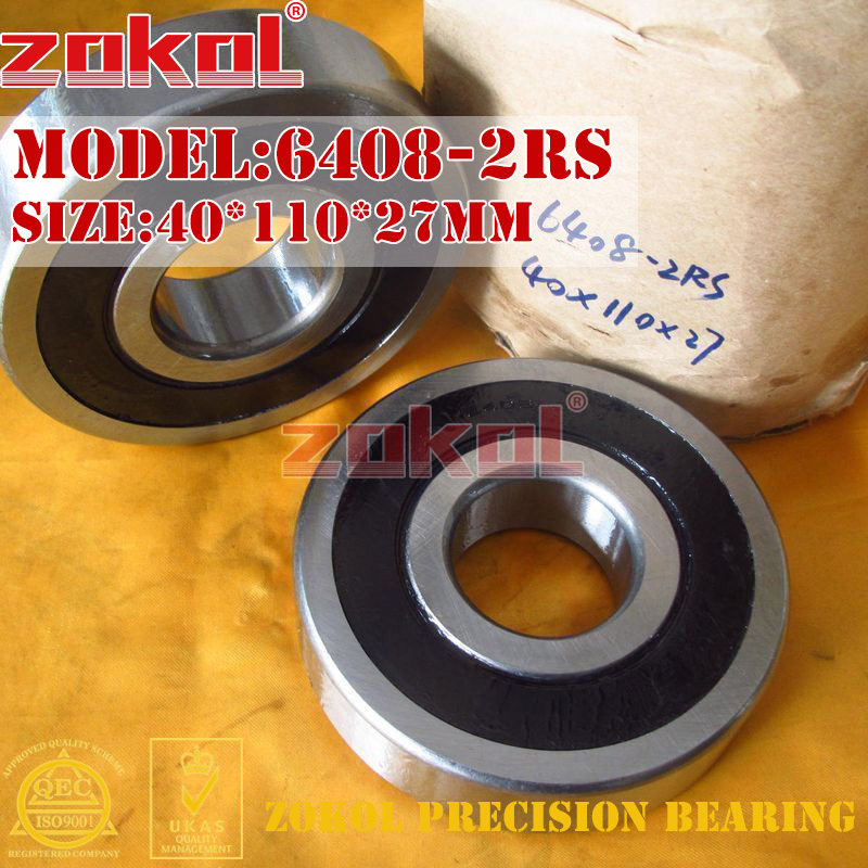 ZOKOL 6408RS bearing 6408 2RS 180408 6408-2RS Deep Groove ball bearing 40*110*27mm zokol 6314 2rs bearing 6314 2rs 180314 deep groove ball bearing 70 150 35mm