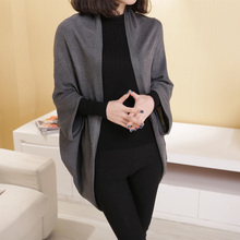 Autumn Womens Shawl Bat Sleeve Loose Knitted Sweater Cardigans Casual High Street Long Cardigan Outwear
