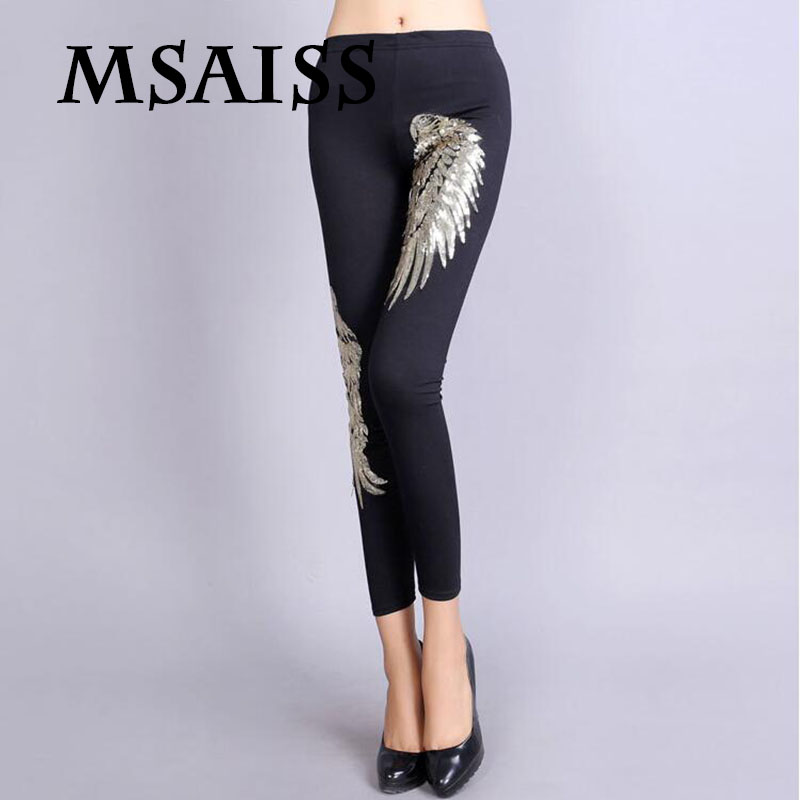 MSAISS Sequined Embroidery Wings Women   Leggings   High-elastic Ladies Casual   Leggings