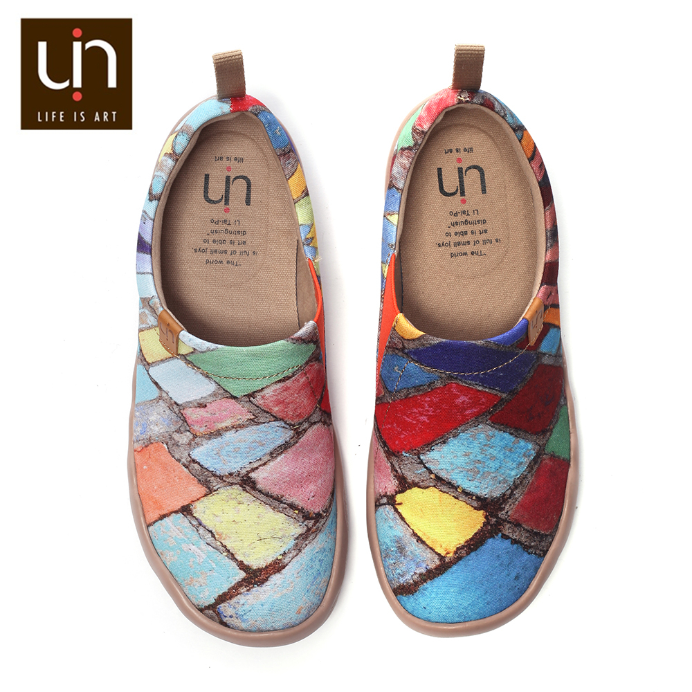 UIN الوقت ليجاسي تصميم مختلط الألوان رسمت حذاء قماش النساء/الرجال الانزلاق على أحذية السفر الراحة أحذية مشي لينة و خفيفة الوزن-في أحذية نسائية مسطحة من أحذية على  مجموعة 1