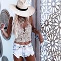 Las mujeres calientes del cordón camisa corta de verano playa corto backless halter tops white party Sexy camis gasa metálica mujeres tank top XD3832