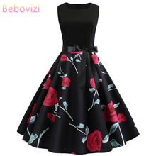 Bebovizi Women New 2019 Summer Black Patchwork Flower Prin Vintage Sexy Bandage Dress t Casual Office Elegant Plus Size Dresses