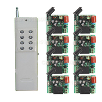 220 V 1CH Radyo Kablosuz Uzaktan Kumanda Anahtarı 8 Alıcı & verici Öğrenme Kodu ışık lambası LED AÇIK KAPALI Çıkış düzeltilmiş