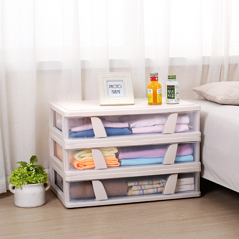 Creative Plastic Storage Box Multi Function Home Wardrobe Bed Bottom Large Capacity Clothing Transparent Plastic Boxes Storage