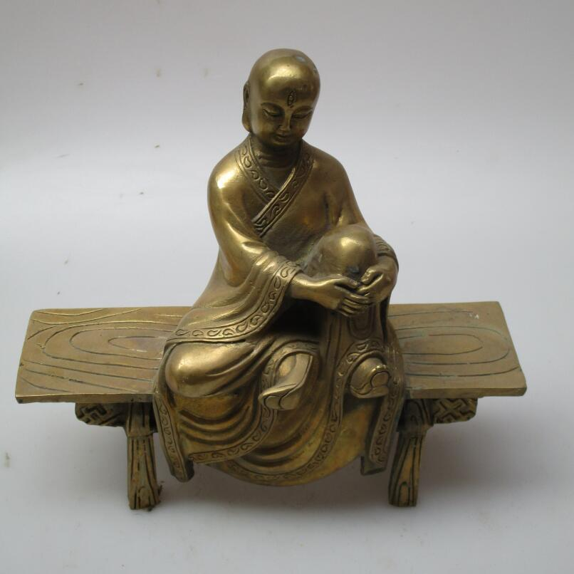 Art Collection  Brass Carved Chinese Tang Dynasty monk Sculpture /Monk  statueArt Collection  Brass Carved Chinese Tang Dynasty monk Sculpture /Monk  statue