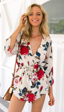 2016 Sexy Womens Summer Jumpsuit Deep V-Neck Long SleeveFlower Floral Print Chiffon Playsuit Loose Casual Shorts Jumpsuits