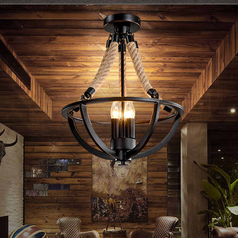 Vintage retro loft chandelier restaurant dining room bar cafe light living room clothing salon droplight hemp rope pendant lamp