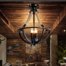 Vintage retro loft chandelier restaurant dining room bar cafe light living room clothing salon droplight hemp rope pendant lamp все цены