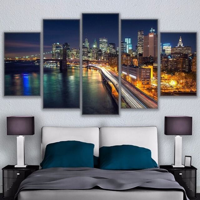 Modern Canvas Pictures Wall Art Frame Home Decor 5 Pieces Brooklyn Bridge  Waterfront City Nightscape Paintings