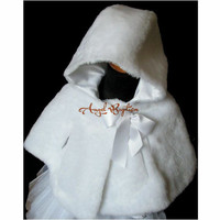 Hooded Autumn Winter warm white/ivory flower girl faux fur cloaks cape princess jacket wrap kid bolero with bow for wedding