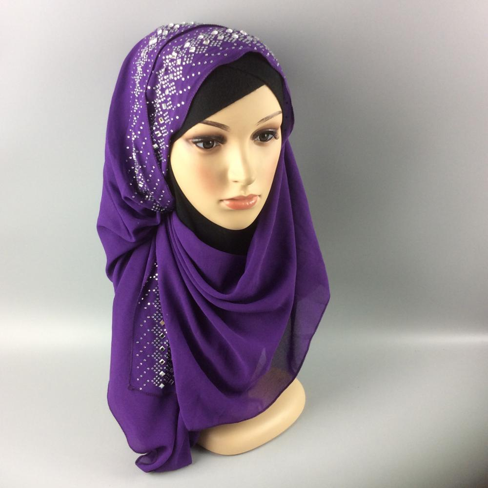 US $9 38 31% OFF|Fashion diamonds women's scarf high quality Turkish  Indonesian muslim chiffon hijab women's headwear girl's cap 180*90-in  Islamic