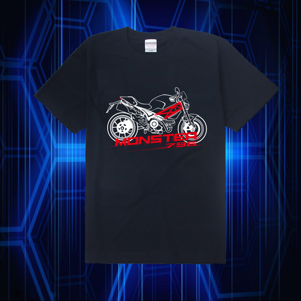 KODASKIN Motorcycle Style 100% Cotton for DUCATI Monster 796 Casual Short Sleeve O-Neck T Shirt