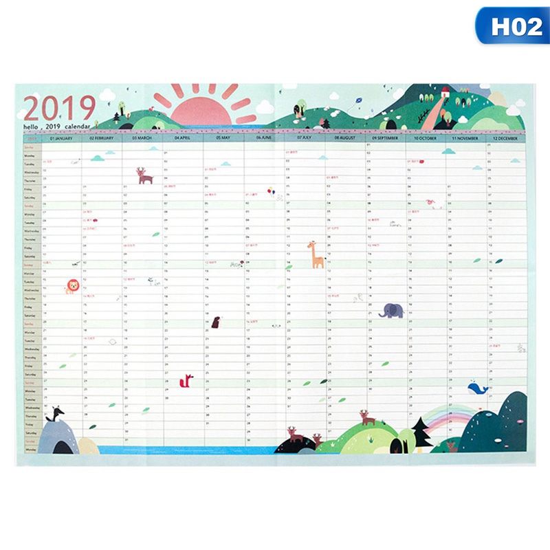 2019 Year 365days Paper Wall Calendar Office School Daily Planner Notes Large Study New Year Plan Schedule plan