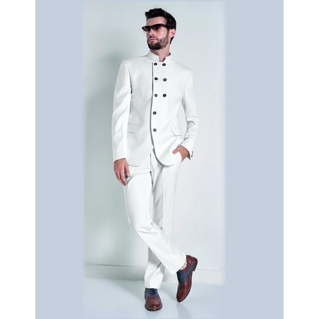 2017 Special Design Stand Collar White Mens Suits Men\'s Formal Party ...