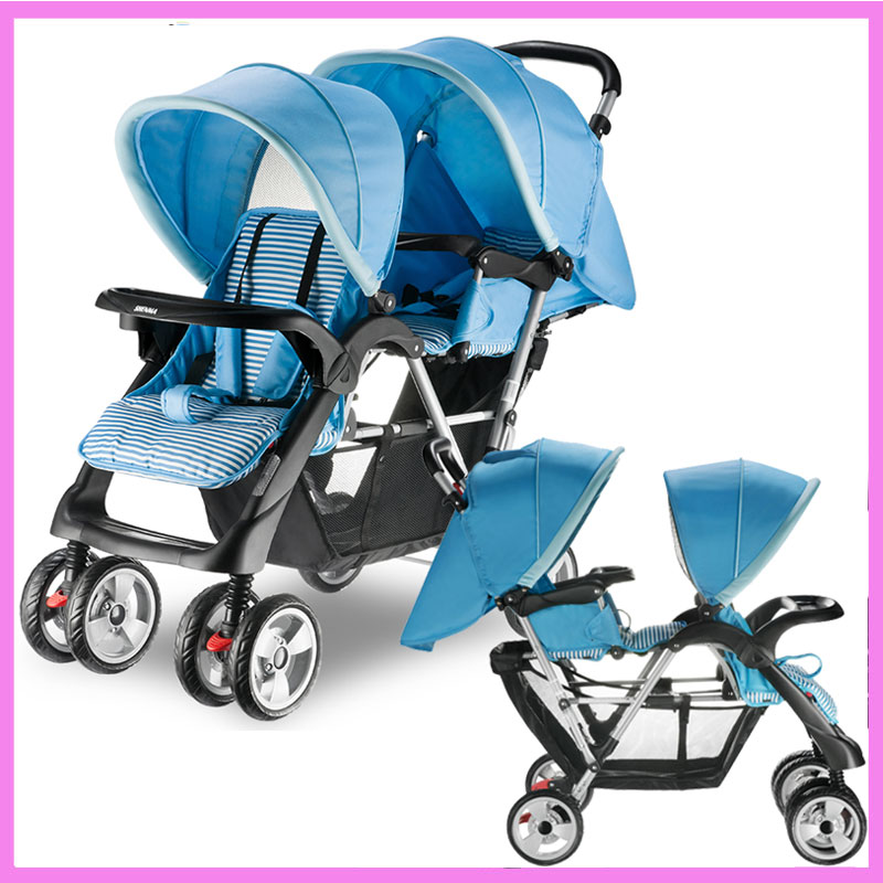 Twins Baby Stroller Double Baby Stroller for Twins Double Umbrella Baby Stroller 2 In 1 Travel System Car Pram Pushchair Buggy double stroller red pink blue color twins infant stroller sale kids sleep comfortable more at ease sophisticated technologies