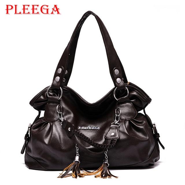 PLEEGA Marca Mulher Estilo Vintage Tassel Bolsa Big Designers Criativos Senhoras Grande bolsa de Ombro Bolsa de Couro PU Sacos Do Mensageiro Negro