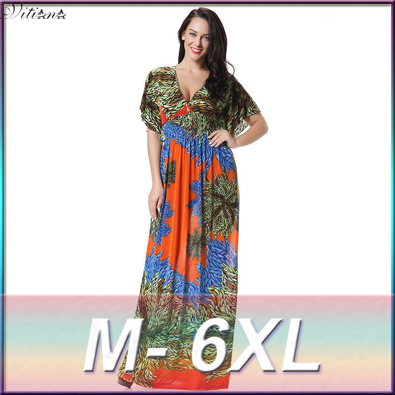 8237005f1fd 2017 Womens Summer Elegant Print Beach Dress For Vacation Bohemian Maxi  Long Dresses Plus Size 6XL 7XL Vestidos 3004-in Dresses from Women s  Clothing on ...
