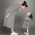 Весна осень мать дочь платья хлопок полосой длинным рукавом мама и я платье семья посмотрите мать дочь платья одежда