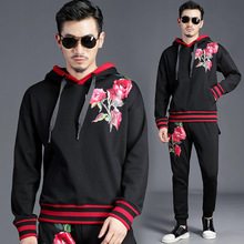 Winter Thicken mens casual pantsuit foral print hooded sweatshirt+casual pants 2pieces set Europe style leisure suit men A540