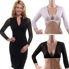 2c2d5432d513f NEW Fashion Plus Size Seamless Arm Shaper Short Cropped Navel Mesh Cardigan  Hot Long Sleeve Bottoming