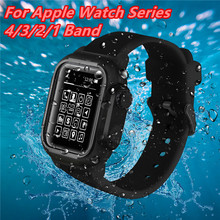 Silicone Sport Watch Bands For Apple 4/3/2/1 Waterproof Case Wrist Iwatch Series44/42mm Swimming Protective