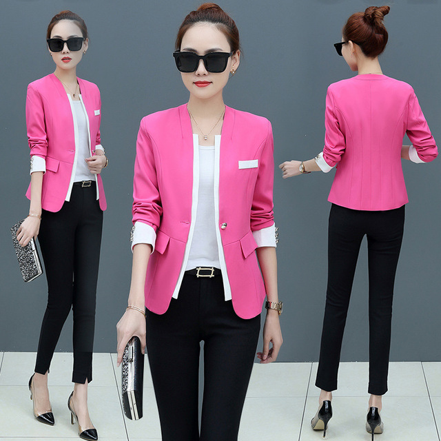 05034ea6ce3 Plus Size 5XL 6XL Women Blazers and Jackets Korean Style Yellow Black Rose  red Casual Female