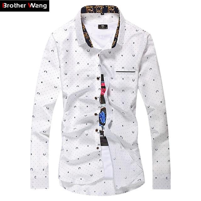 De Los nuevos Hombres Camisas Casuales Dot Impreso Camisa de manga larga Delgado Hombres de negocios de Moda de Gran Tamaño Camisas de Marca M-7XL Blanco Navy azul