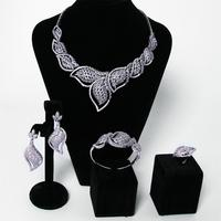 New Bridal Jewelry Sets rhodium plated with Cubic zircon 4pcs sets ( necklace + bracelet + earrings + ring) free shipment