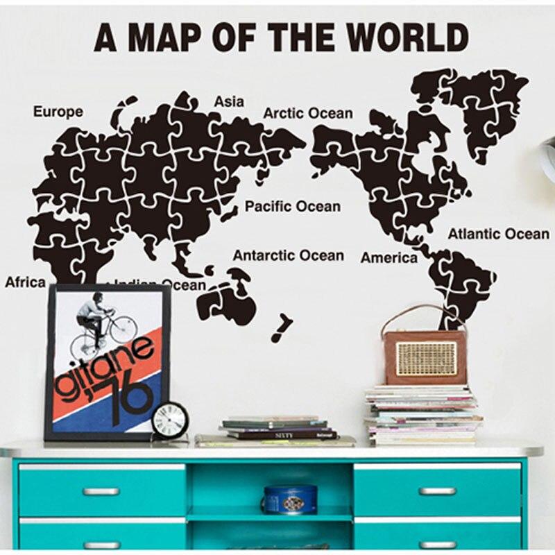 Nouveau bricolage acrylique mur autocollant carte du monde Puzzle Design autocollants décorations pour la maison