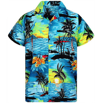 Casual Male Hawaiian Shirts Fashion Men's Casual Button Hawaii Print Beach Short Sleeve Quick Dry shirt Top Blouse New Arrivals 1