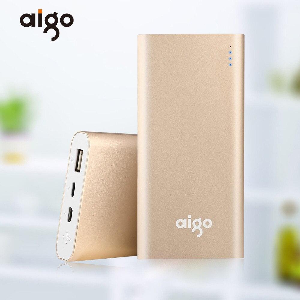 Aigo 10000mAh font b Power b font Bank Dual Input Ultra slim Li polymer Portable Charger
