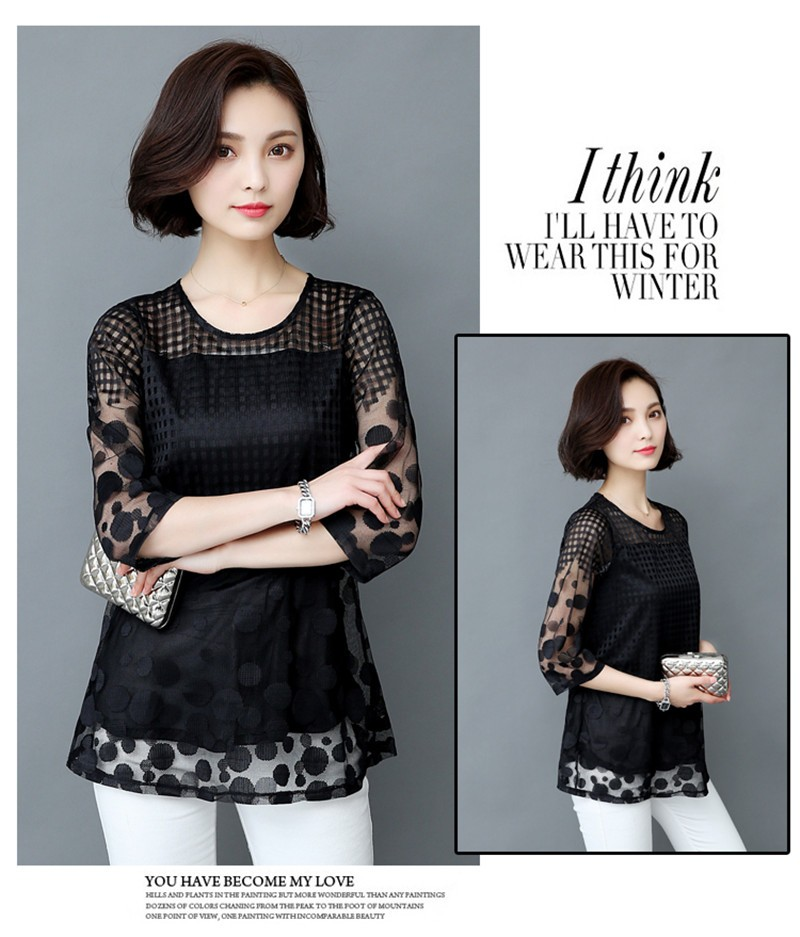 HTB1w CaOXXXXXX XFXXq6xXFXXXy - 5XL Women Fashion Elegant Lace Blouse Shirt Chiffon 3/4 Sleeve