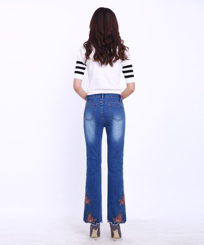 KSTUN FERZIGE Fashion Women Jeans with Embroidery Floral Design Flare Pants Bell Bottoms Boot Cut Slim Business Woman Sexy Ladies 36 17