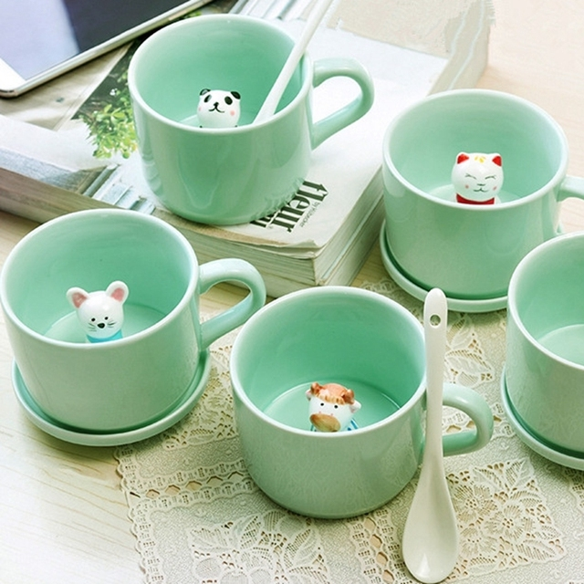 Small Ceramic Mugs Personality Coffee Cup Breakfast Milk Cups With Lid Spoon Animals Cartoon Tea