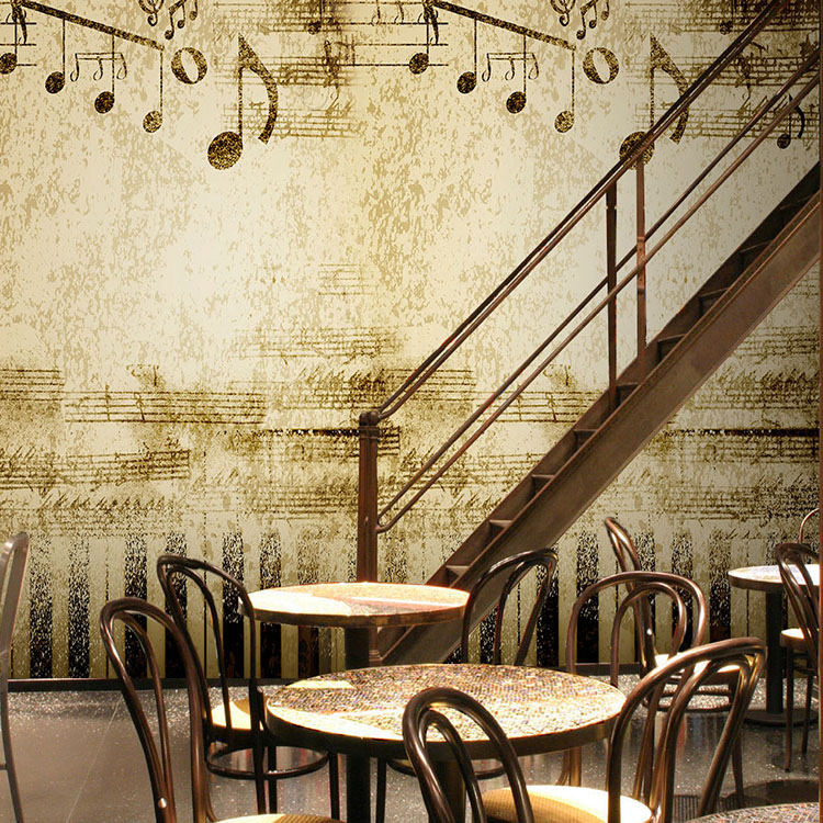 Custom piano music room 3d wallpaper retro lounge cafe for Retro house music