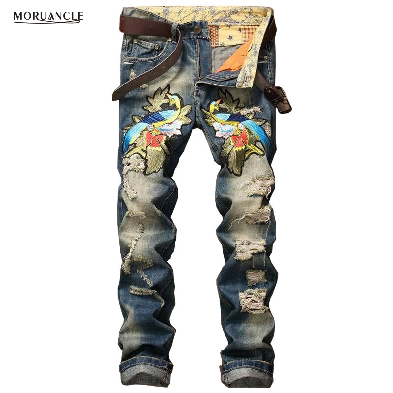 ФОТО American European Mens Ripped Denim Joggers With Embroidery Fashion Slim Fit Distressed Jenas Pants For Man Destroyed Trousers