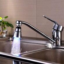 360 градусов вращения 7 Цвет RGB Красочный Светодиодные Воды Душ 32*24 мм Опрыскивание Руководитель Кран Аэратор Ванной Bathware