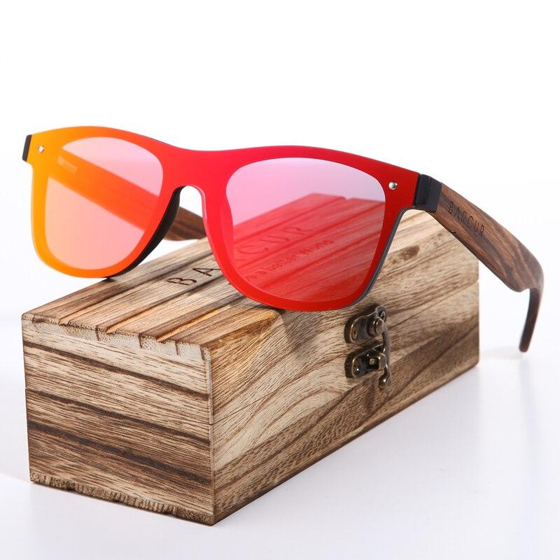 BARCUR Polarisierte Zebra Holz Marke Vintage Stil Sonnenbrille Männer Flache Linse Randlose Quadratischen Rahmen Frauen Sonnenbrille Oculos Gafas